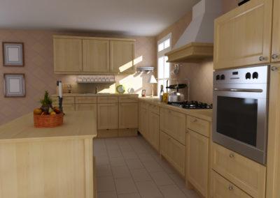 3d render classic kitchen